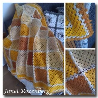 Gehaakte Granny deken geel 1