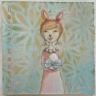 Happy Easter - girl mixed media drawing painting