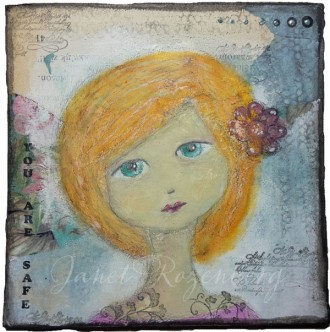 You are safe - girl mixed media drawing painting